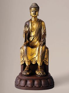 A highly important gilt-bronze figure of Maitreya Buddha, late Sui-Tang dynasty, early 7th century. 12¾ in (32.4 cm) high. Estimate on request. Offered in The Nitta Maitreya sale on 30 May at Christie's Hong Kong