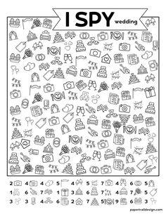 Use this awesome I spy wedding theme activity idea at your wedding to help keep the little kids entertained. #papertraildesign #kidsweddingideas #Ispy #ispywedding #weddingispy #party Kids Wedding Activities, Indoor Activities For Kids, Kid Activities, Learning To Write, Kids Learning, Wedding Theme Games, Spy Kids, Kids Fun, I Spy Games