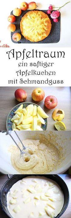 Apfeltraum – ein saftiger Apfelkuchen mit Schmandguss. Rezept mit Äpfeln. Schnell und einfach