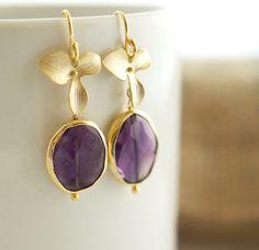 Amethyste and Gold Earrings - Bezel Set Earrings