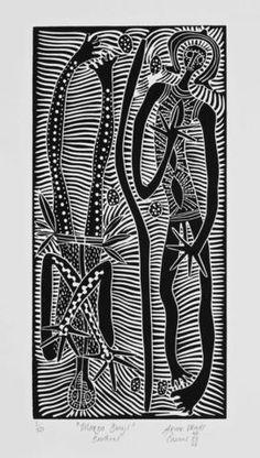 Arone Meeks, Maroo bunji (brothers) Linocut Prints, Art Prints, Scratchboard, Black And White Prints, Aboriginal Art, City Art, Public Art, Printmaking, Drawings
