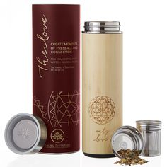 ee12c591f2 Bamboo Tumbler 18 oz Thermos for Loose Leaf Tea, Coffee Mug & Fruit Water w/Stainless  Steel Infuser. Beautifully Packaged with Gift Card + Poem.