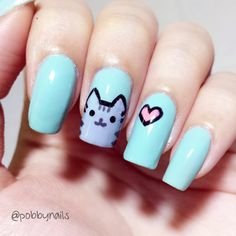 Pusheen Nails! One of the cutest stickers on Facebook