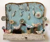 Shirley Vauvelle Mixed Media Artist Chattering Birds of Birdsall Brow 27 x 30 x 6 £185.00