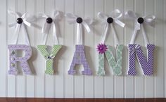 Wall Letters, Nursery Wall Decor, Wooden Letters, Nursery Art, Purple and Green, Embellished Letters, Standing Letters via Etsy