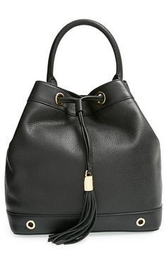 MILLY 'Astor' Pebbled Leather Bucket Bag. #milly #bags #shoulder bags #leather #bucket #
