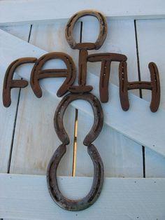 Faith - Recycled Horseshoe Sign
