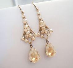 Vintage style earrings, bridal earrings, chandelier earrings, art deco earrings, wedding jewelry, antique brass earrings. $45.00, via Etsy.