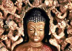 Maravijaya (Victory Over Mara), Sakyamuni Buddha —These little demons send by Mara the evil one, to try and wake up  Buddha from his meditation