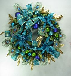 Peacock Blue Christmas Wreath by Ed The Wreath Guy | eBay