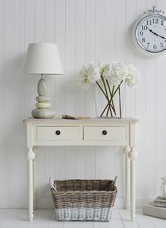 Decorate Country Cottage homes with furniture and interior accessories for the Bedroom, Bathroom , Kitchen, Living Room and Hall. See all our unique decor for cottages for all budgets. Hall Furniture, Cottage Furniture, Country Furniture, Country Decor, Cottage Living, Cottage Homes, Cream Console Table, Console Tables, Small Hallways