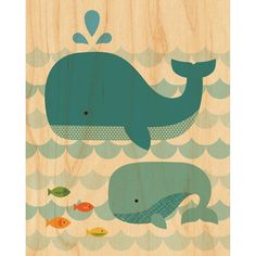 Whale Baby print on wood // Petit Collage