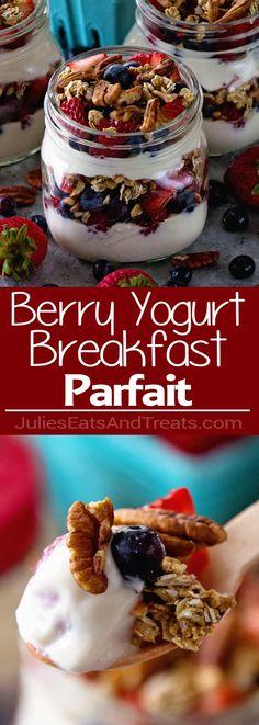 Berry Yogurt Breakfast Parfait ~ Quick, Healthy Breakfast for Mornings When You Are on the Go! Layers of Greek Yogurt, Granola, Strawberries, Blueberries, Raspberries and Pecans! via @julieseats