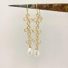 Pearls earrings Gold filled earrings Dangle gold earrings | Etsy Gold Drop Earrings, Unique Earrings, Bridal Earrings, Boho Earrings, Pearl Earrings, Boho Jewelry, Gold Bangle Bracelet, Gold Bangles, Gold Heart Ring