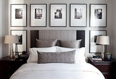The ideas presented in this article will be of great use while you are preparing to decorate a master bedroom, especially if you have a small master bedroom. There are multitudes of ways to make a small master bedroom look… Continue Reading → Bedroom Headboard, Master Bedroom Design, Small Bedroom Decor, Photo Walls Bedroom, Chic Bedroom, Bedroom Wall, Small Master Bedroom, Master Bedrooms Decor, Small Bedroom