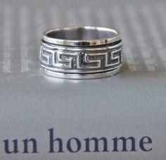 Bague Spinner OM Mani Padme Hum Mantra Bouddhiste en Argent Sterling pour Hommes Femmes 10mm