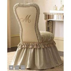 ~ Every Southern Belle needs this vanity chair!I dearly love it - the style, ruffles monogram.I believe it is quite the most beautiful little vanity chair I've ever laid eyes on. Chair Covers, Table Covers, Rideaux Design, Vanity Stool, Vanity Chairs, Vanity Seat, Vanity Tables, Desk Chairs, Side Chairs