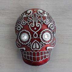 Sugar Skull Drawer Knobs  Cabinet Knobs in Red MK107 XL by DaRosa, $15.00