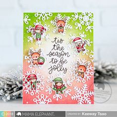 Little Elf Agenda & Scripty Xmas with Keeway (mama elephant Christmas Cards 2018, Noel Christmas, Xmas Cards, Christmas Crafts, Cards Diy, Christmas Ideas, Mama Elephant Stamps, Winter Karten, Stamps