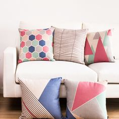 Home Decorative Cushion Cover Pastel Pillow Case Pink Blue Cushion Cover Vintage decoracion casa estilo Abstract