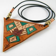 Triangle Turquoise Leather Necklace by spiralDRIFT on Etsy, $28.00