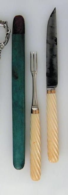 A late 18th century French fork and knife, (steel blade), with writhen ivory handles, and gold ferrules, contained in a fitted shagreen case for travelling, marks distorted, last quarter of the 18th century, 11in (28cm) overall.
