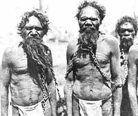Australian Aboriginals in chains. A blot on our national conscience. And still, not a lot has changed - these people have rights too, respect them! Aboriginal Man, Aboriginal Culture, Aboriginal People, Indigenous Education, Indigenous Art, Australian People, Australian Men, Australian Aboriginals, Native Australians