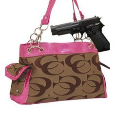 Cleto Pink and Khaki Fashion Signature Conceal and Carry Purse : Conceal and Carry Purses