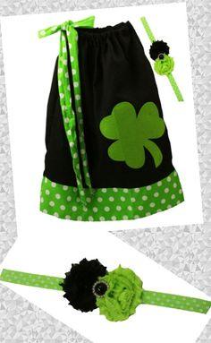 Baby Girls Shamrock St Patricks Day Pillow Case Dress with Headband Little Girls Set by BabyGirlTutus on Etsy