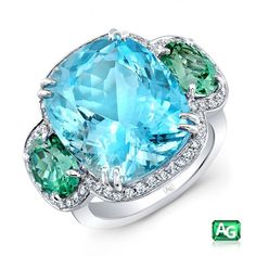 13.80ct Aquamarine, Mozambique Paraiba Tourmaline Ring Accented by Diamonds by A G GEMS INC.