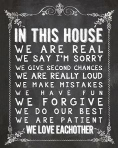 In This House Chalkboard Home Decor Print Art by SassyGraphicsNow