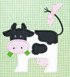 Cow Applique Design 25 by AppliqueChick on Etsy, $4.00