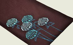 Table Runner Linen table runner Dark Brown Linen Teal by KainKain