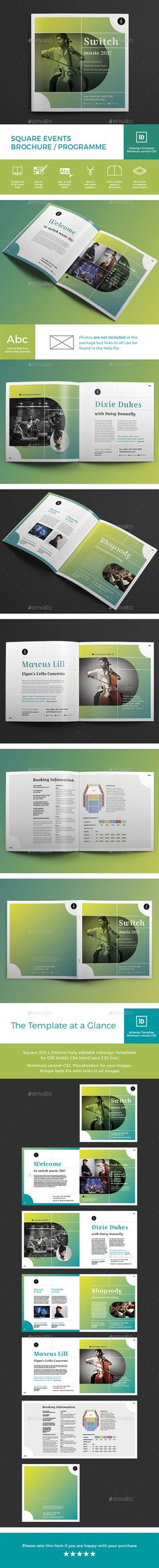Square Events Brochure / Programme - #Brochures Print #Templates Download here:  https://graphicriver.net/item/square-events-brochure-programme/19537184?ref=alena994