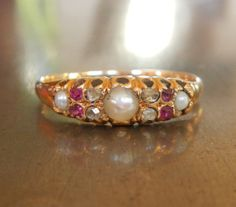 Antique Diamond Ruby and Pearl ring from 1800s by AntiqueSparkle, $635.00