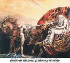 """artwork: William Blake - """"God Judging Adam"""", 1795 - Colour-printed relief etching with ink and watercolour on paper support - 43.2 x 53.5 cm. -Tate collection. On view at the Pushkin State Museum of Fine Art in """"William Blake & British Visionary Art"""" until February 19th."""