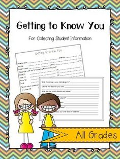 Getting to Know You - this is one of the BEST resources for back to school. Quickly gather student information and keep it all in one spot! A must have!!