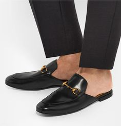 Gucci Horsebit Leather Backless Loafers in Black Backless Shoes, Backless Loafers, Mens Moccasins Loafers, Loafers Men, Me Too Shoes, Men's Shoes, Dress Shoes, Mens Designer Loafers, Gucci Horsebit