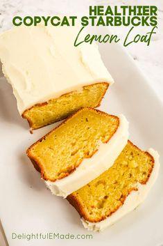 Starbucks Lemon Loaf, Healthy Starbucks, Starbucks Recipes, Starbucks Food, Loaf Recipes, Bakery Recipes, Cupcake Recipes, Yummy Recipes, Sweets