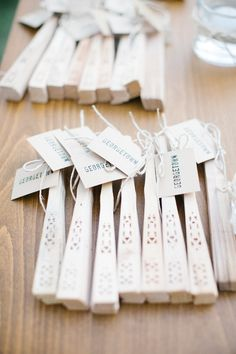sweet give away/ seat card idea for a summer wedding. tables were named after cities that were important for the bride and the groom and it ...