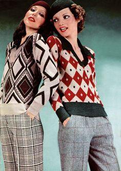 Cacharel. L'Officiel magazine 1973 models magazine designer winter wool knit sweater diamond shapes red black white tan pants plaid windowpane grey 70s vintage fashion style slacks trousers