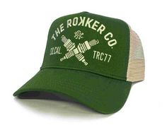 "ROKKER hat Trukker"" in green. Get your motorcycle lifestyle trucker hat now at Snapback Hats, Trucker Hats, Hat Patches, Motorcycle Shop, Mesh Cap, Cool Hats, Dad Hats, Clothing Company"