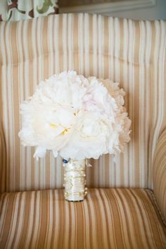 Peonies // White wedding bouquet by Hidden Garden Flowers