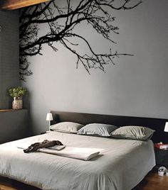 A wall decal/tattoo would be really cool to have in my new room, i love how this one uses the other wall as an edge and is closely the same color.