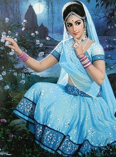 Indian Art Paintings A Beautiful North Indian Village Girl Indian Women Painting, Indian Art Paintings, Indian Artwork, Oil Paintings, India Painting, Woman Painting, Bollywood, Village Girl, Indian Folk Art