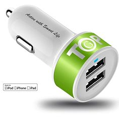 TopG  Lifetime Warranty  Dual USB Ports 31A Portable USB Car Charger for iPhone 5 5S 5C 4 4SiPad 4 3 2iPad miniiPad air Battery Power Supply for All Apple Device Lightning CableAdapter Not Included WhiteNeon Yellow >>> Find out more about the great product at the image link.