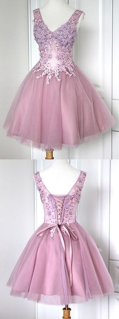 https://www.dresstells.com/ball-gown-v-neck-short-mini-purple-lace-up-organza-homecoming-dress-with-appliques-beading.html ball gown bridesmaid dress, v-neck homecoming dress, short bridesmaid dress, mini homecoming dress, purple homecoming dress, lace-up homecoming dress, organza homecoming dress, bridesmaid dress with appliques, popular bridesmaid dress, 2016 homecoming dress, #purple #2016 #homecoming #bridesmaid
