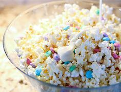 White chocolate popcorn with M&Ms. Maximus would like this.