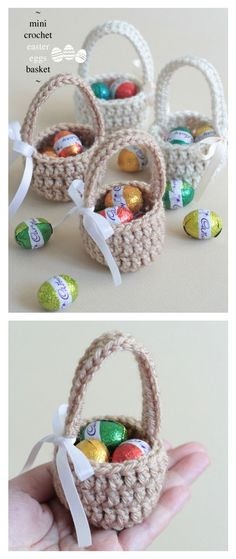 Decorazioni pasquali fai da te, cestini uncinetto - Crochet Mini Easter Eggs Basket Free Pattern There are so many crochet Easter Basket patterns out there, we've compiled a list of wonderful Crochet Easter Basket Free Patterns to share with you. Crochet Easter, Easter Crochet Patterns, Crochet Basket Pattern, Holiday Crochet, Crochet Baskets, Knit Basket, Knitting Patterns, Crochet Gratis, Crochet Diy