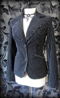 Gorgeous Gothic Black White Pinstripe Velvet Riding Jacket 10 Victorian Goth | THE WILTED ROSE GARDEN on eBay // Worldwide Shipping Available